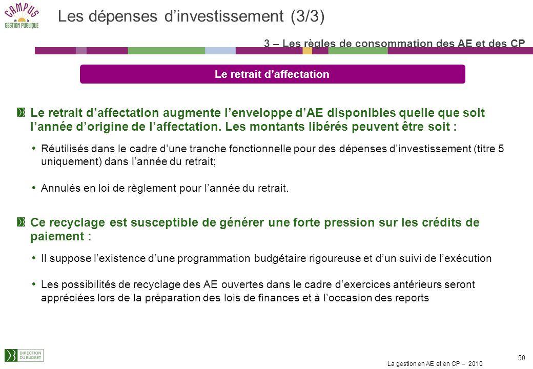 Les dépenses d'investissement (3/3)