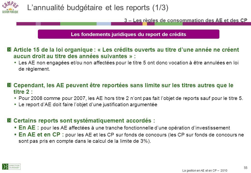 L'annualité budgétaire et les reports (1/3)