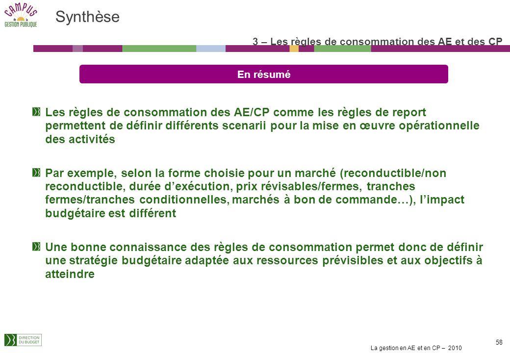 Synthèse 3 – Les règles de consommation des AE et des CP. En résumé.