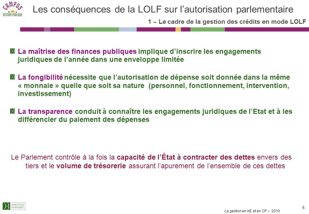 Les conséquences de la LOLF sur l'autorisation parlementaire
