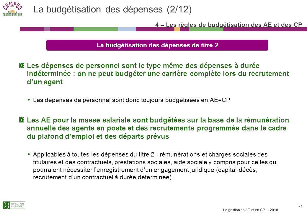 La budgétisation des dépenses (2/12)