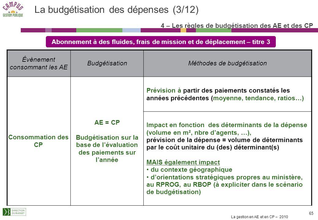 La budgétisation des dépenses (3/12)