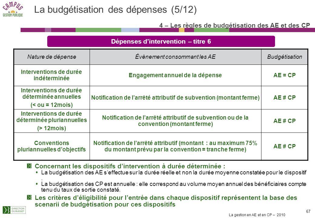 La budgétisation des dépenses (5/12)