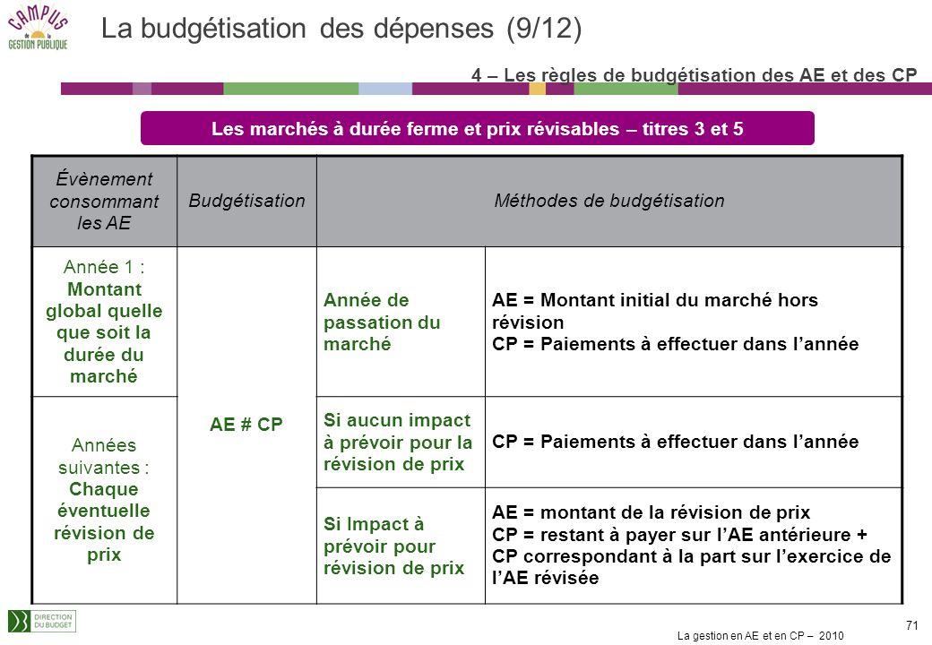 La budgétisation des dépenses (9/12)