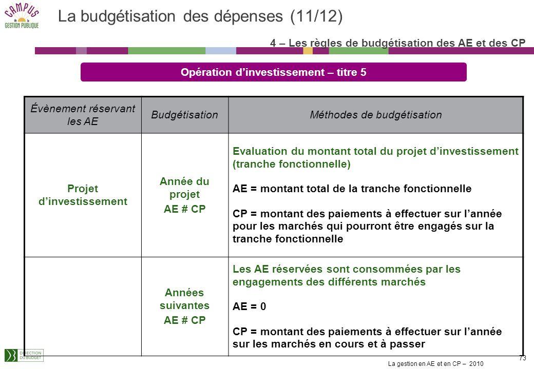 La budgétisation des dépenses (11/12)