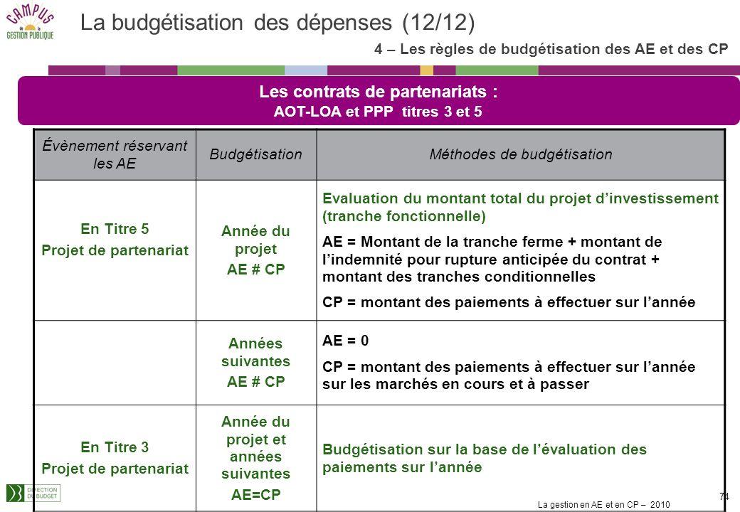 La budgétisation des dépenses (12/12)