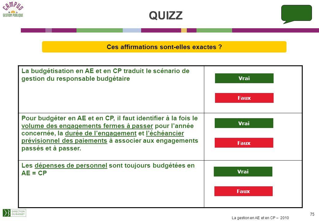 QUIZZ Ces affirmations sont-elles exactes La budgétisation en AE et en CP traduit le scénario de gestion du responsable budgétaire.