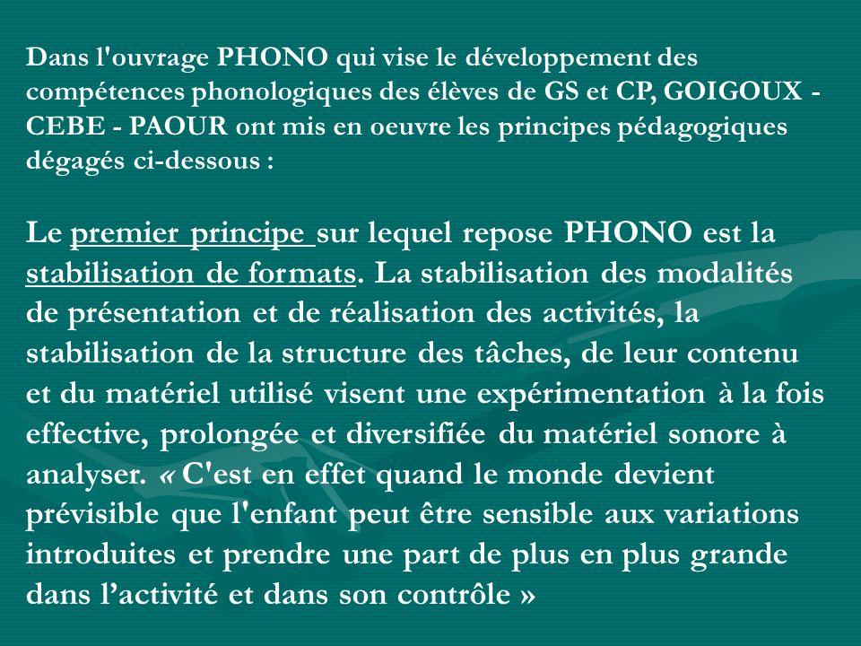 Dans l ouvrage PHONO qui vise le développement des compétences phonologiques des élèves de GS et CP, GOIGOUX - CEBE - PAOUR ont mis en oeuvre les principes pédagogiques dégagés ci-dessous :