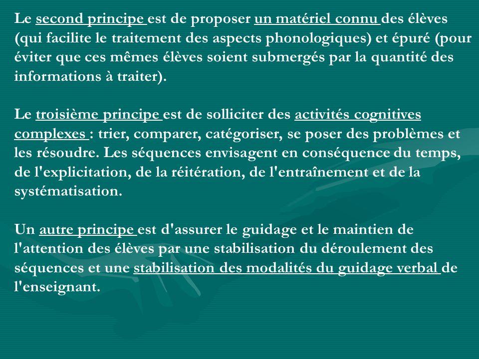 Le second principe est de proposer un matériel connu des élèves (qui facilite le traitement des aspects phonologiques) et épuré (pour éviter que ces mêmes élèves soient submergés par la quantité des informations à traiter).