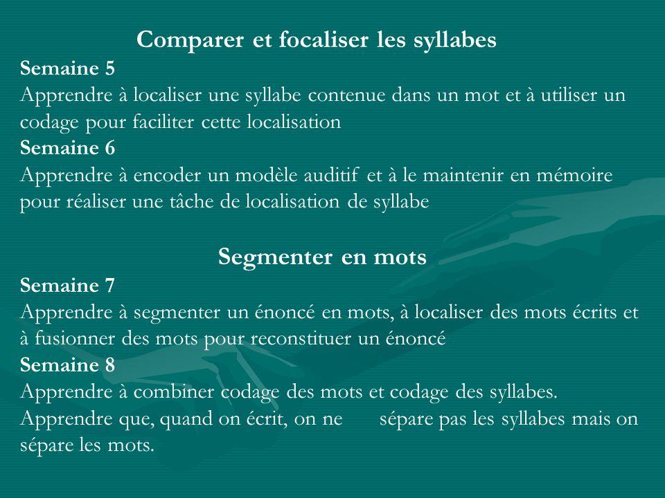 Comparer et focaliser les syllabes