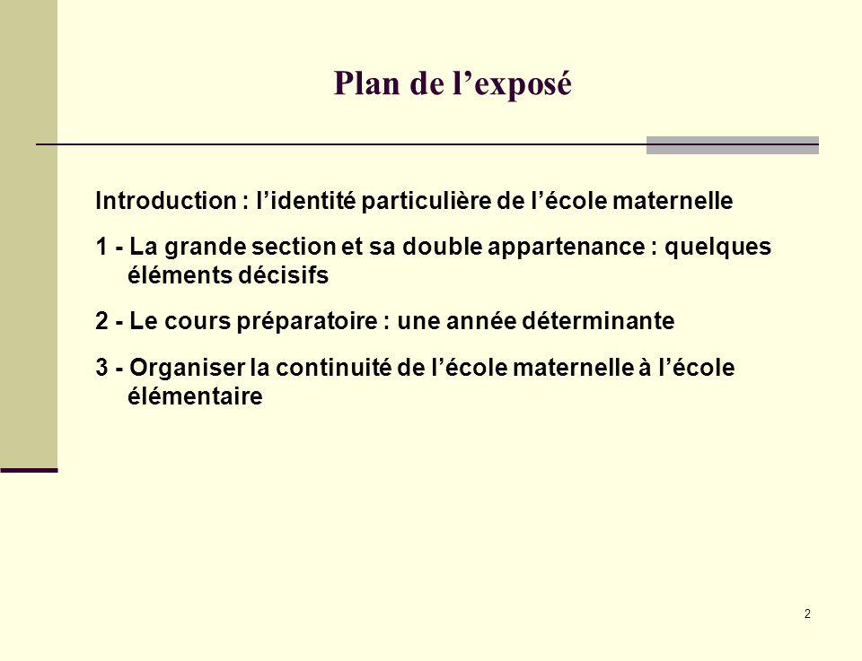 Plan de l'exposé Introduction : l'identité particulière de l'école maternelle.