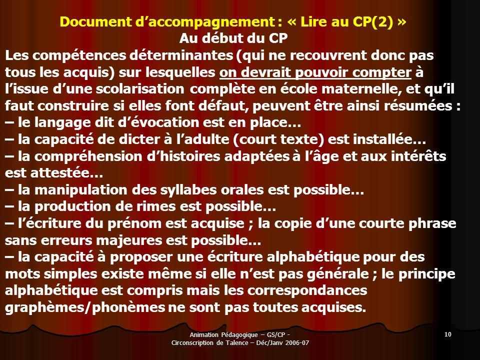 Document d'accompagnement : « Lire au CP(2) »