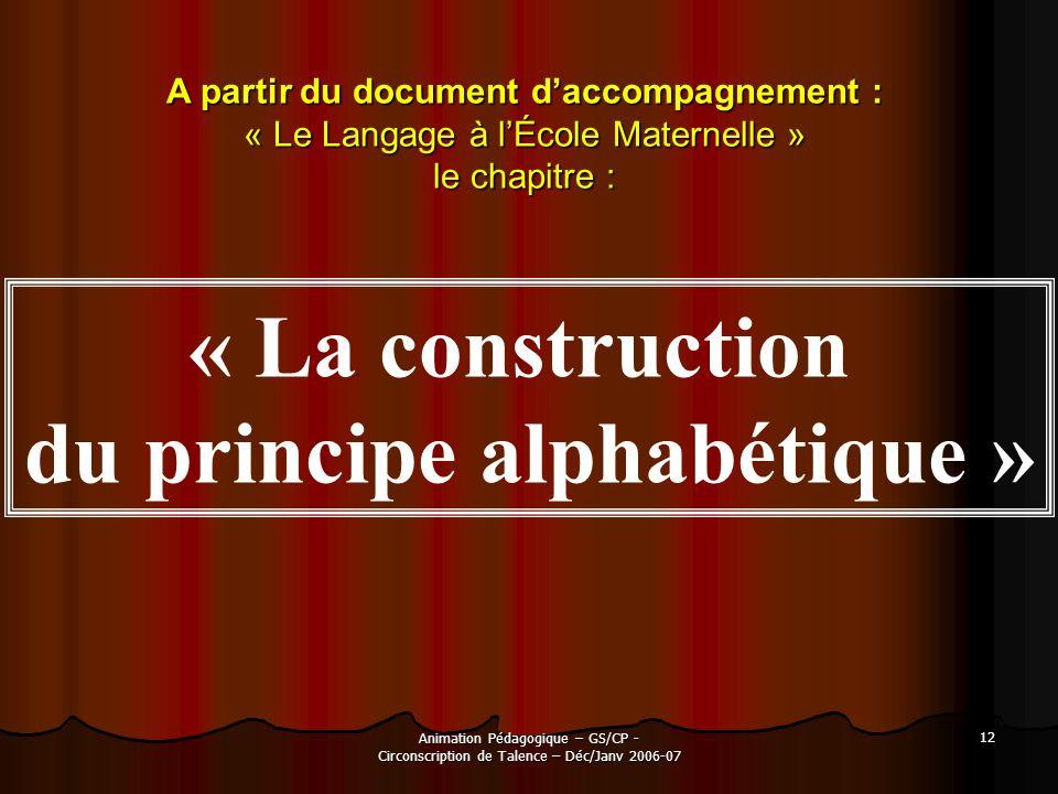 A partir du document d'accompagnement : du principe alphabétique »