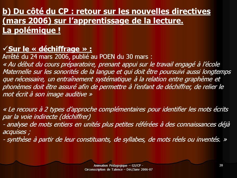 b) Du côté du CP : retour sur les nouvelles directives (mars 2006) sur l'apprentissage de la lecture.