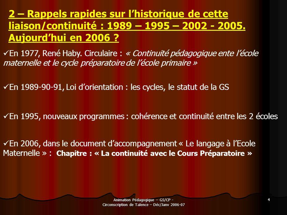 2 – Rappels rapides sur l'historique de cette liaison/continuité : 1989 – 1995 – 2002 - 2005. Aujourd'hui en 2006
