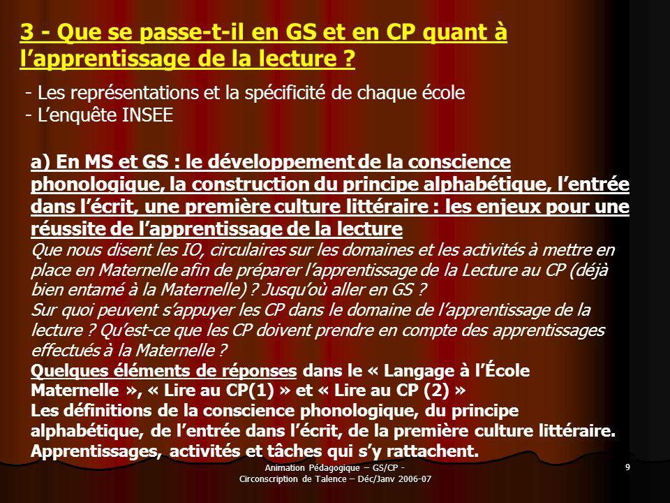 3 - Que se passe-t-il en GS et en CP quant à l'apprentissage de la lecture