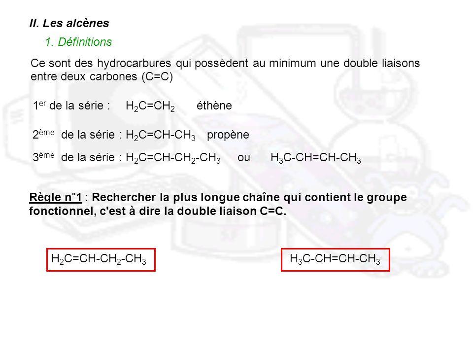 II. Les alcènes 1. Définitions. Ce sont des hydrocarbures qui possèdent au minimum une double liaisons.