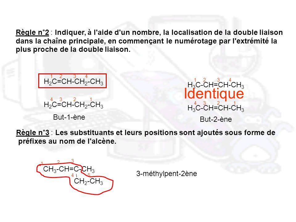 Règle n°2 : Indiquer, à l aide d un nombre, la localisation de la double liaison