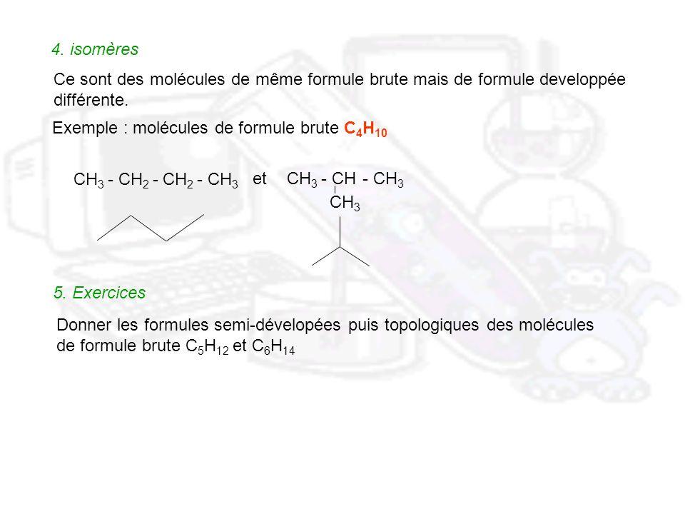 4. isomères Ce sont des molécules de même formule brute mais de formule developpée. différente. Exemple : molécules de formule brute C4H10.