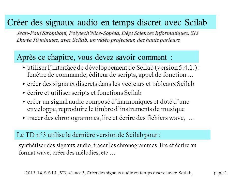 Créer des signaux audio en temps discret avec Scilab