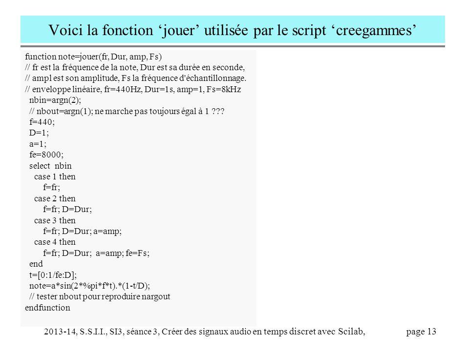 Voici la fonction 'jouer' utilisée par le script 'creegammes'
