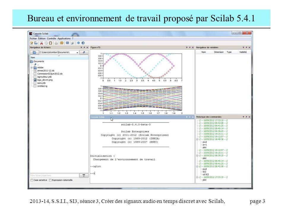 Bureau et environnement de travail proposé par Scilab 5.4.1