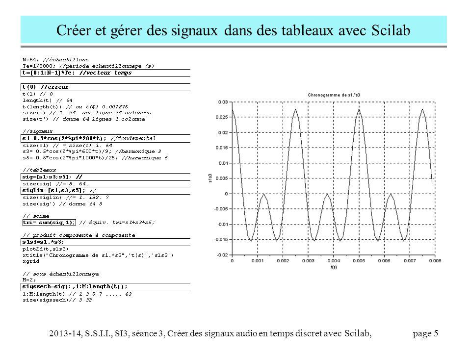 Créer et gérer des signaux dans des tableaux avec Scilab