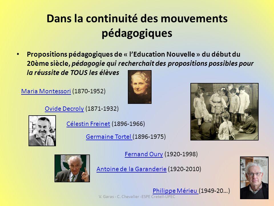Dans la continuité des mouvements pédagogiques