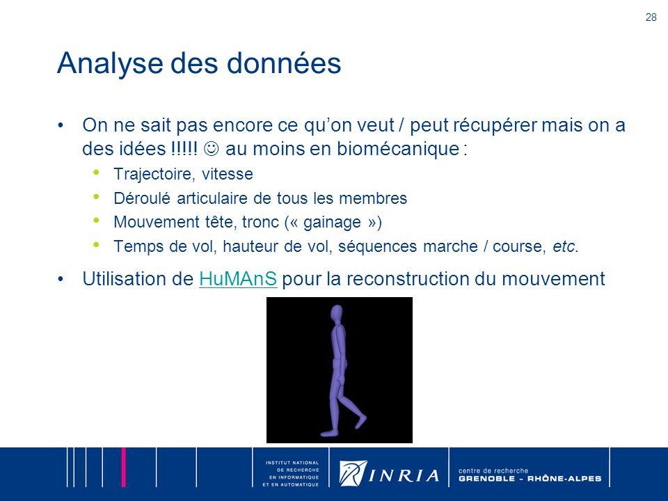 Analyse des données On ne sait pas encore ce qu'on veut / peut récupérer mais on a des idées !!!!!  au moins en biomécanique :