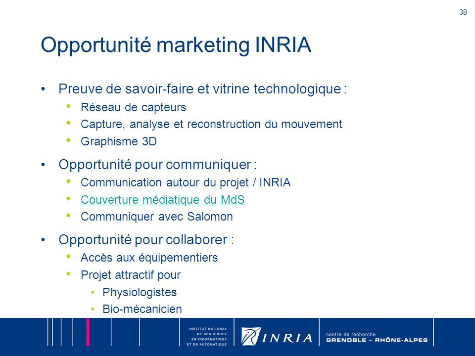 Vitrine marketing pour l'INRIA