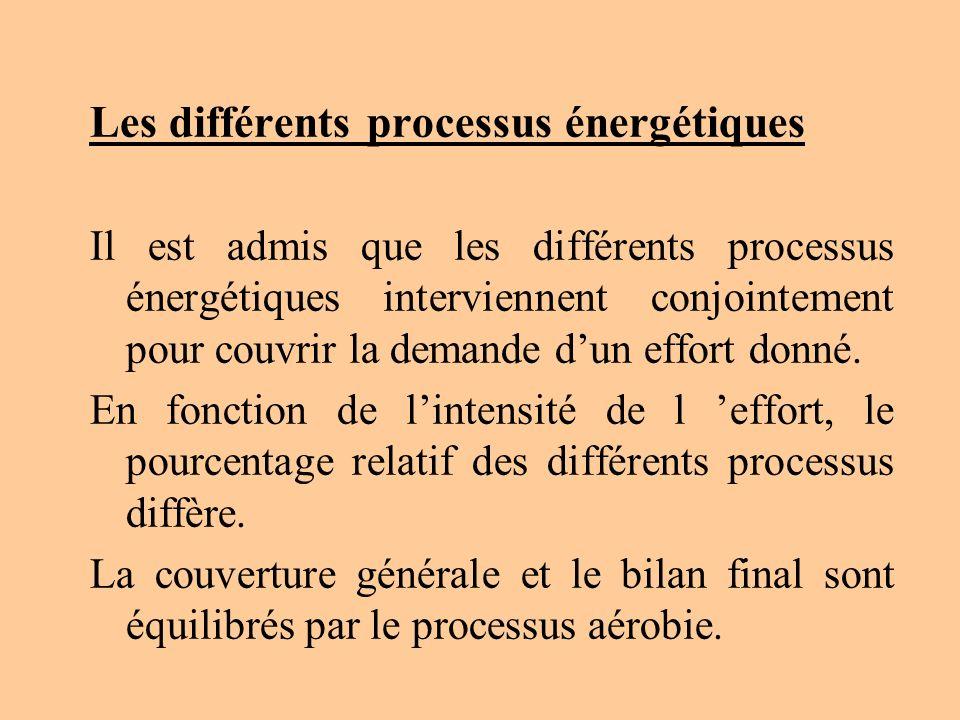 Les différents processus énergétiques