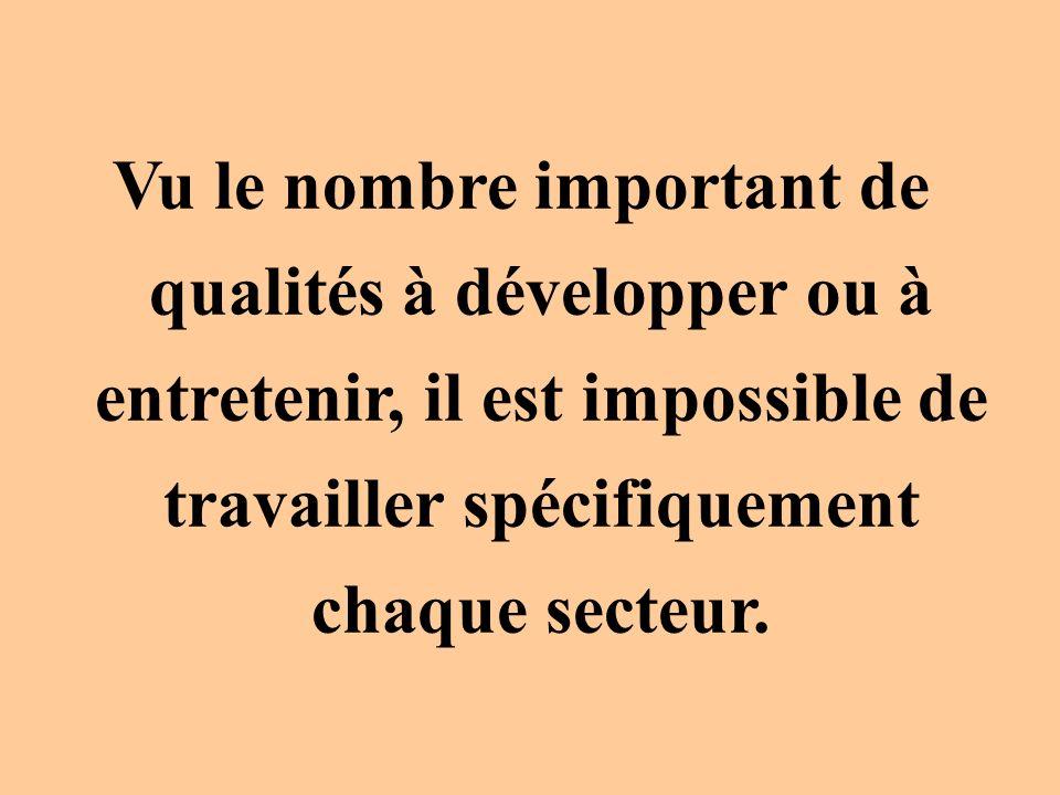 Vu le nombre important de qualités à développer ou à entretenir, il est impossible de travailler spécifiquement chaque secteur.