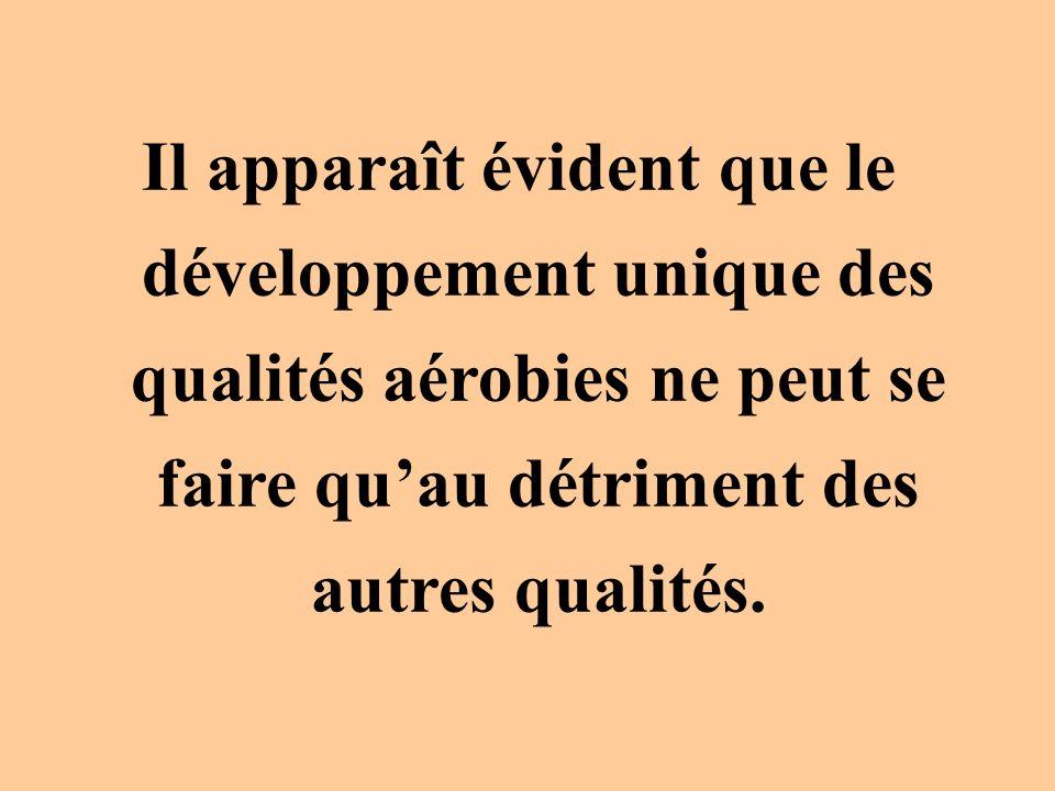 Il apparaît évident que le développement unique des qualités aérobies ne peut se faire qu'au détriment des autres qualités.