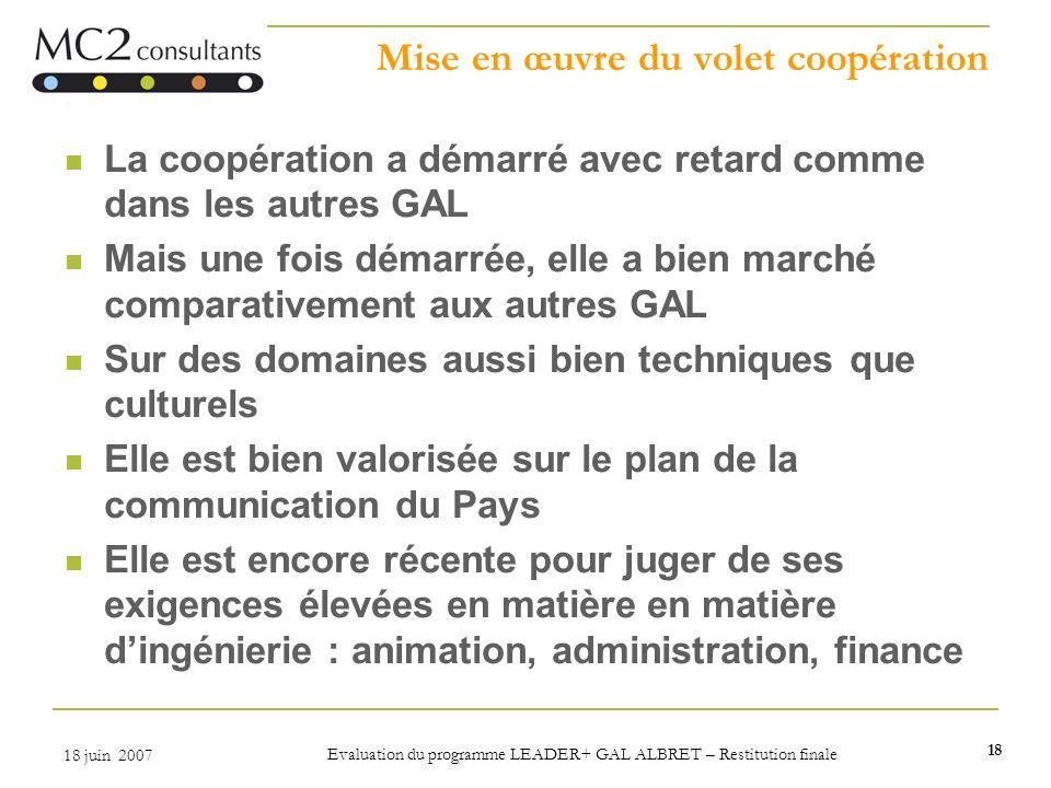 Mise en œuvre du volet coopération