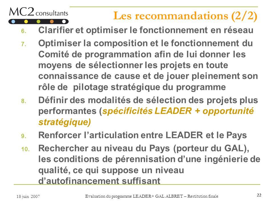 Les recommandations (2/2)
