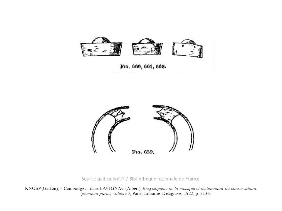 KNOSP (Gaston), « Cambodge », dans LAVIGNAC (Albert), Encyclopédie de la musique et dictionnaire du conservatoire, première partie, volume 5, Paris, Librairie Delagrave, 1922, p. 3136.