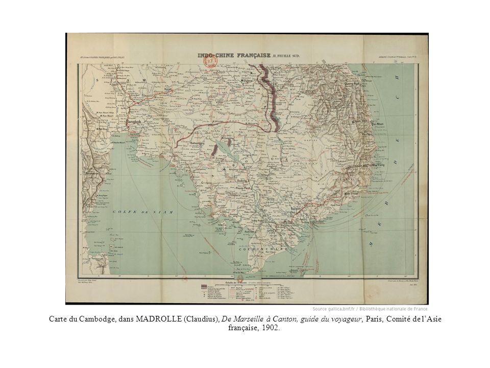 Carte du Cambodge, dans MADROLLE (Claudius), De Marseille à Canton, guide du voyageur, Paris, Comité de l'Asie française, 1902.