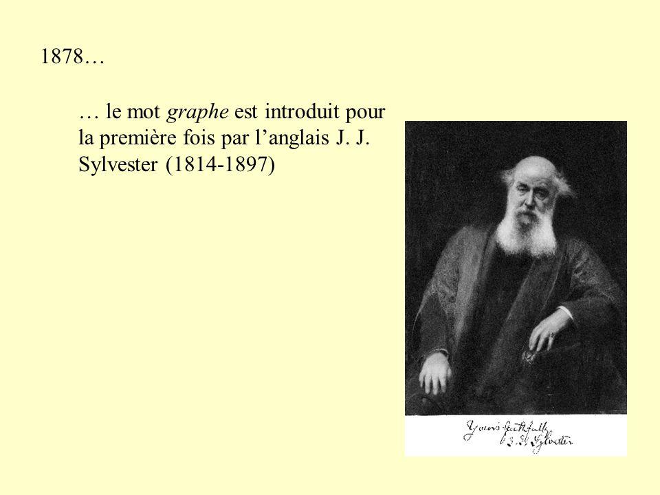 1878… … le mot graphe est introduit pour la première fois par l'anglais J. J. Sylvester (1814-1897)