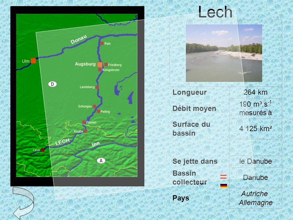 Lech Longueur 264 km Débit moyen 190 m³.s-1 mesurés à