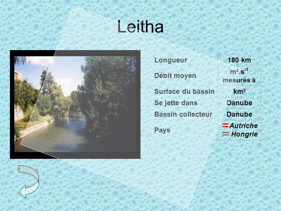 Leitha Longueur 180 km Débit moyen m³.s-1 mesurés à Surface du bassin