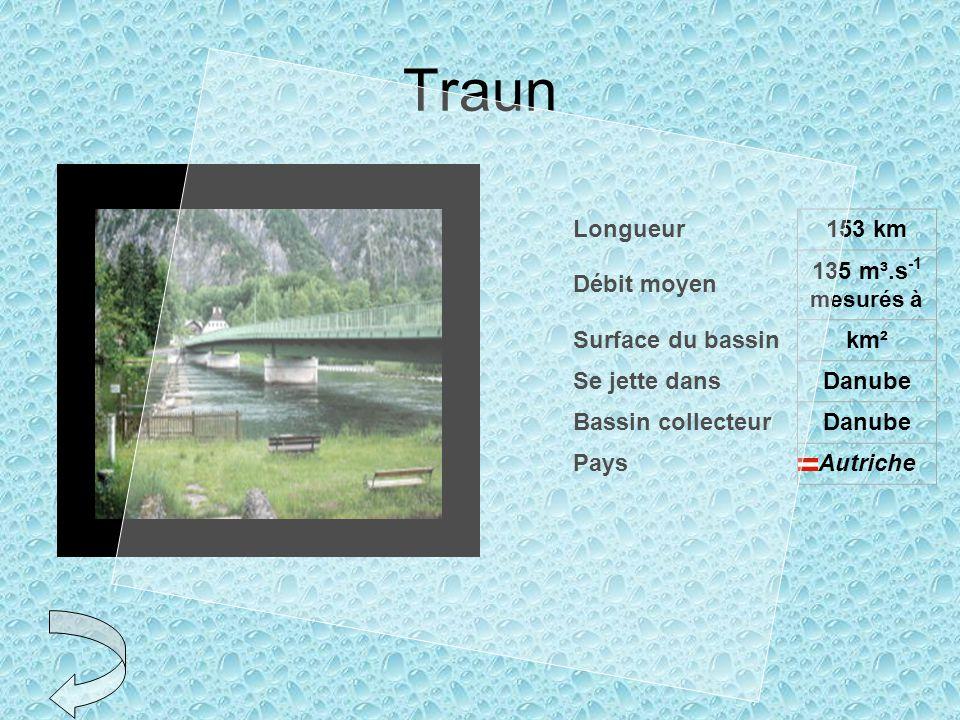 Traun Longueur 153 km Débit moyen 135 m³.s-1 mesurés à
