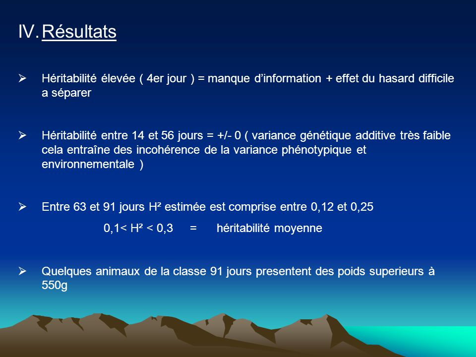 Résultats Héritabilité élevée ( 4er jour ) = manque d'information + effet du hasard difficile a séparer.