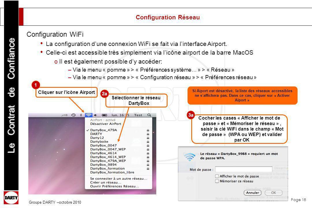 Cliquer sur l'icône Airport Sélectionner le réseau DartyBox