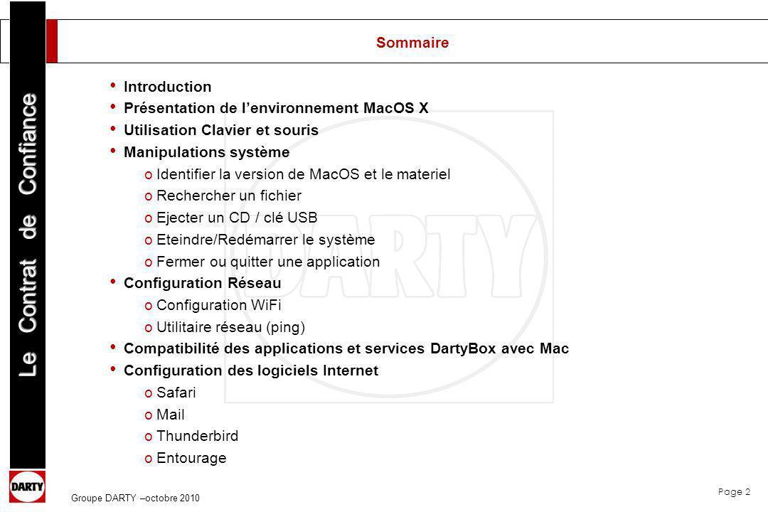 Présentation de l'environnement MacOS X Utilisation Clavier et souris