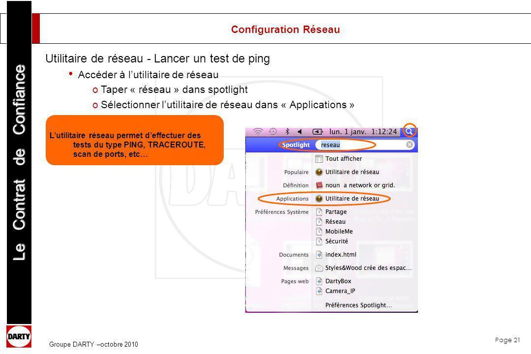 Utilitaire de réseau - Lancer un test de ping