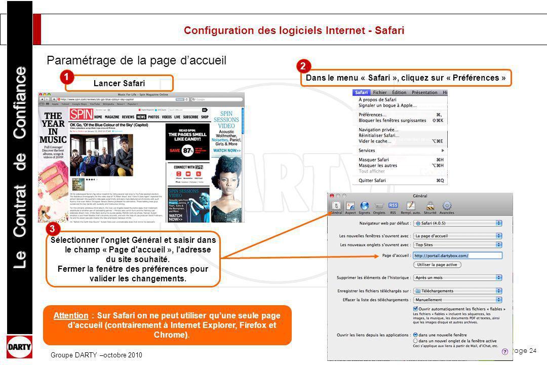 Configuration des logiciels Internet - Safari