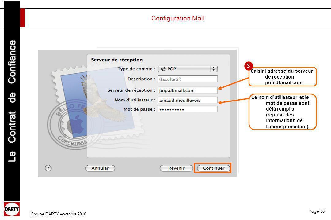 Configuration Mail 3. Saisir l'adresse du serveur de réception pop.dbmail.com.
