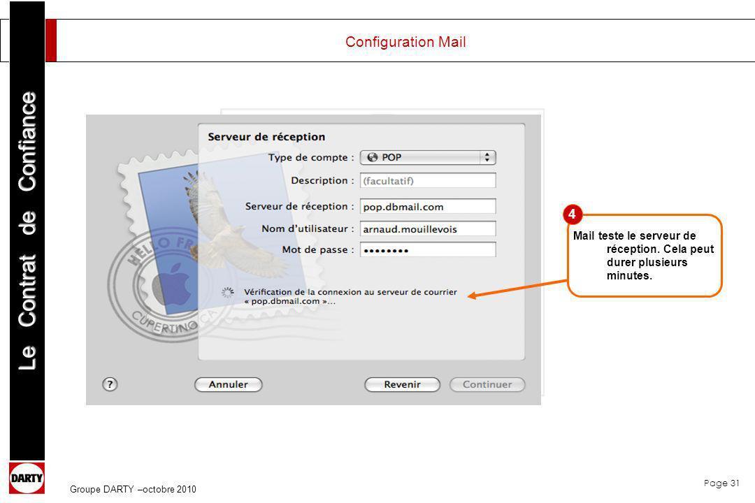 Configuration Mail 4. Mail teste le serveur de réception.