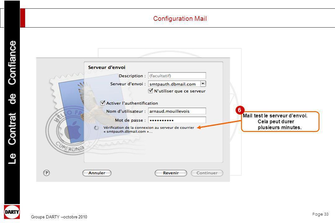 Configuration Mail 6. Mail test le serveur d'envoi.