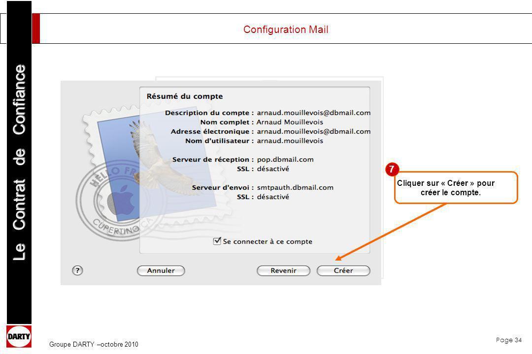 Configuration Mail 7 Cliquer sur « Créer » pour créer le compte.